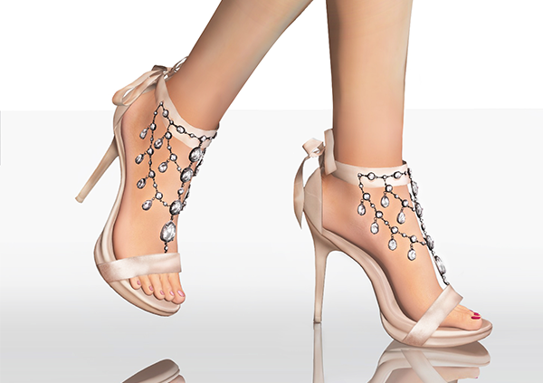 Gems Decorated Ribbon High Heels