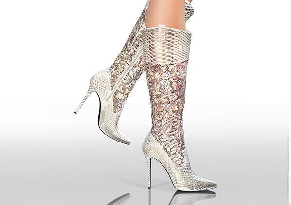 3D Sequin Boots